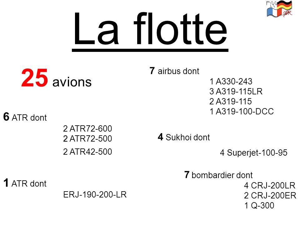 La flotte 25 avions 7 airbus dont 1 A330-243 3 A319-115LR 2 A319-115 1 A319-100-DCC 4 Sukhoi dont 4 Superjet-100-95 7 bombardier dont 4 CRJ-200LR 2 CR