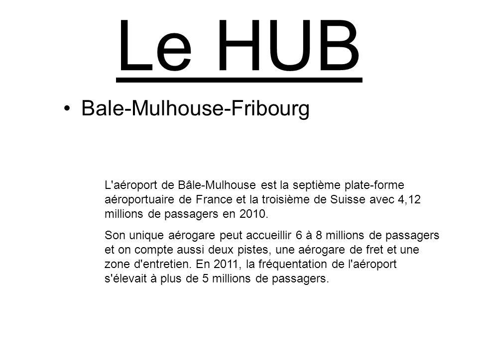 Le HUB Bale-Mulhouse-Fribourg L'aéroport de Bâle-Mulhouse est la septième plate-forme aéroportuaire de France et la troisième de Suisse avec 4,12 mill