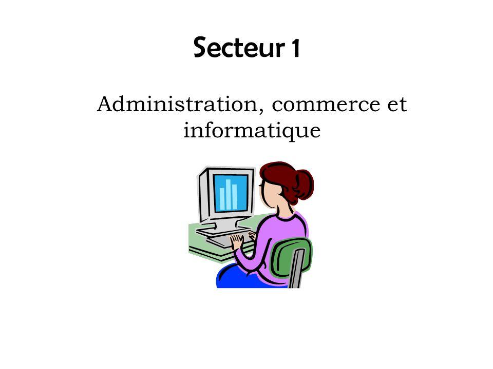 Secteur 1 Administration, commerce et informatique