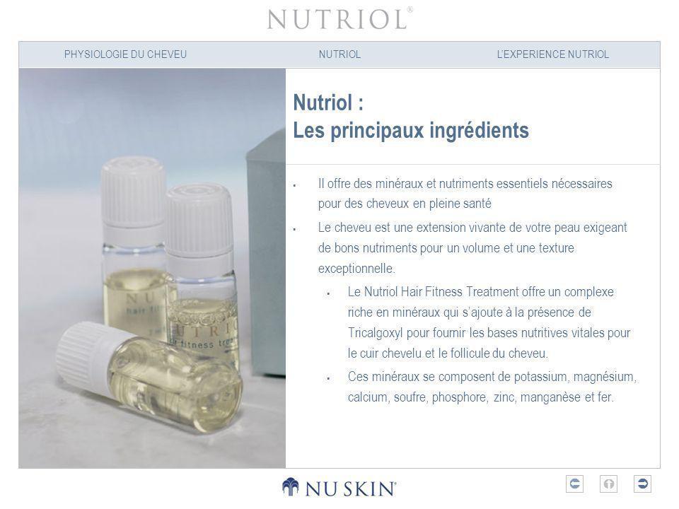 PHYSIOLOGIE DU CHEVEUNUTRIOLLEXPERIENCE NUTRIOL Nutriol : Les principaux ingrédients Il offre des minéraux et nutriments essentiels nécessaires pour d