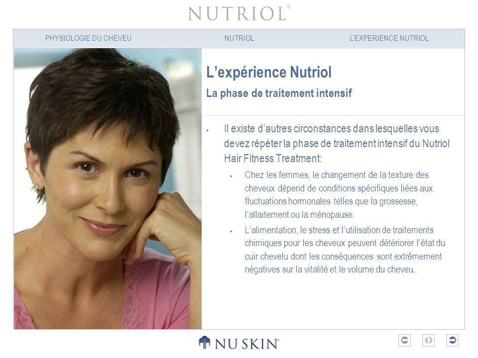 PHYSIOLOGIE DU CHEVEUNUTRIOLLEXPERIENCE NUTRIOL Lexpérience Nutriol La phase de traitement intensif Il existe dautres circonstances dans lesquelles vo