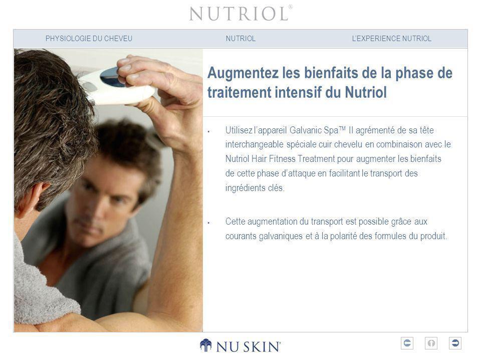 PHYSIOLOGIE DU CHEVEUNUTRIOLLEXPERIENCE NUTRIOL Augmentez les bienfaits de la phase de traitement intensif du Nutriol Utilisez lappareil Galvanic Spa