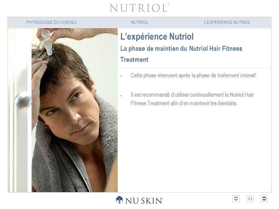 PHYSIOLOGIE DU CHEVEUNUTRIOLLEXPERIENCE NUTRIOL Lexpérience Nutriol La phase de maintien du Nutriol Hair Fitness Treatment Cette phase intervient aprè