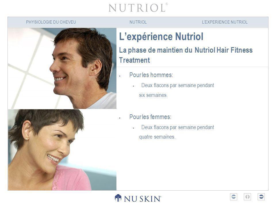 PHYSIOLOGIE DU CHEVEUNUTRIOLLEXPERIENCE NUTRIOL Lexpérience Nutriol La phase de maintien du Nutriol Hair Fitness Treatment Pour les hommes: Deux flaco