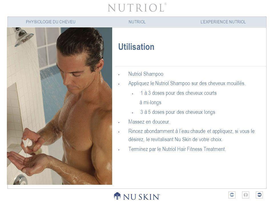 PHYSIOLOGIE DU CHEVEUNUTRIOLLEXPERIENCE NUTRIOL Utilisation Nutriol Shampoo Appliquez le Nutriol Shampoo sur des cheveux mouillés. 1 à 3 doses pour de