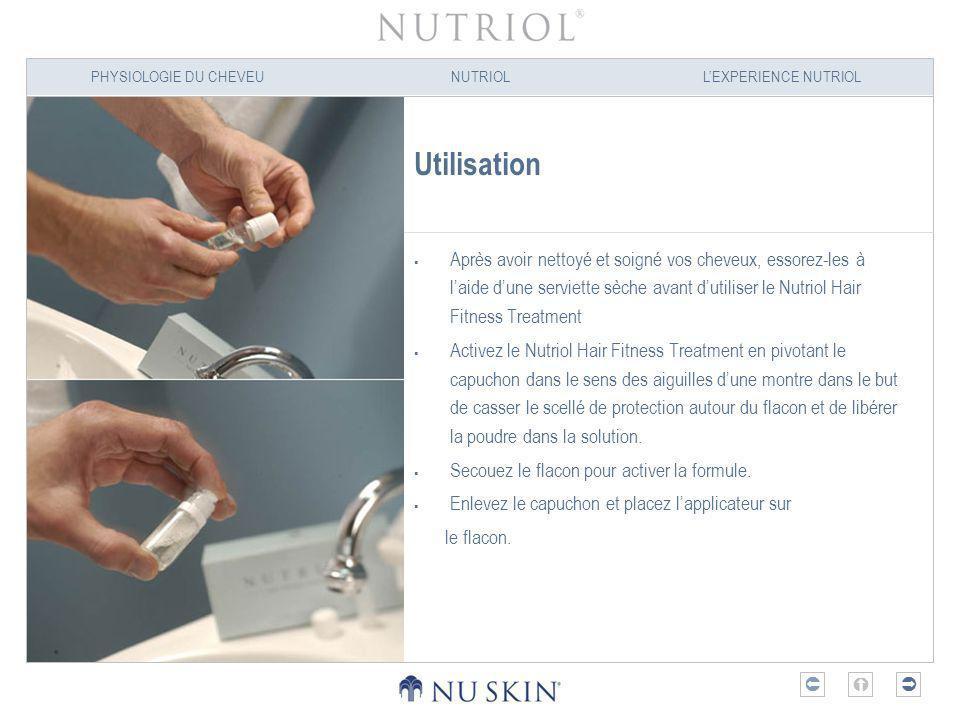 PHYSIOLOGIE DU CHEVEUNUTRIOLLEXPERIENCE NUTRIOL Utilisation Après avoir nettoyé et soigné vos cheveux, essorez-les à laide dune serviette sèche avant