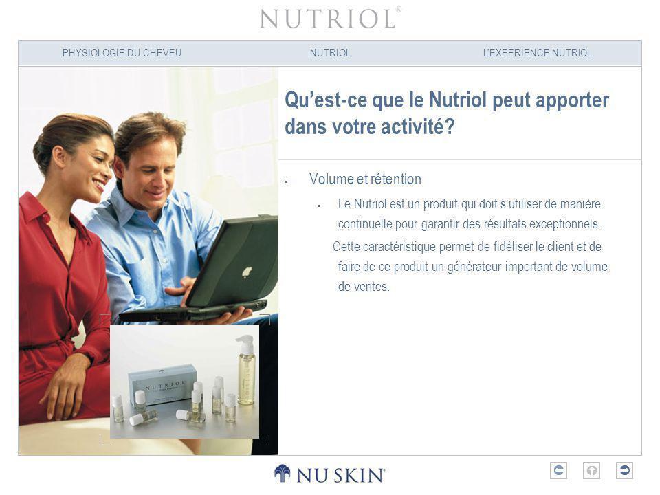 PHYSIOLOGIE DU CHEVEUNUTRIOLLEXPERIENCE NUTRIOL Quest-ce que le Nutriol peut apporter dans votre activité? Volume et rétention Le Nutriol est un produ