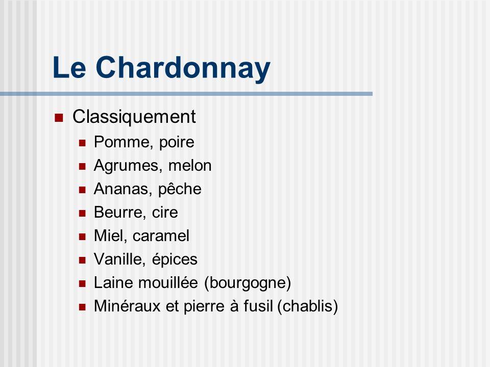 Le Chardonnay Ce quon goûtera Arômes: Fleurs Fruits blancs Vanille Structuré et longueur surprenante
