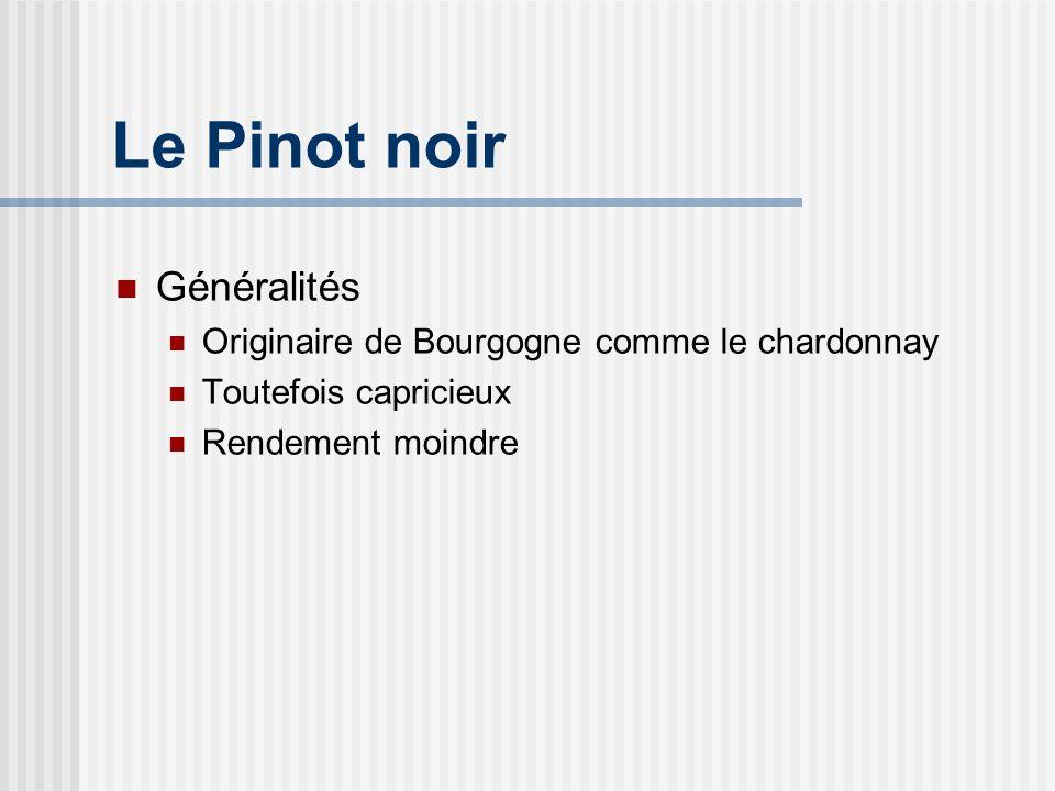 Le Pinot noir Classiquement Cassis, framboise Fraise, cerise Canneberge, violette Rose, gibier (ventre de lièvre) Compost, fumier