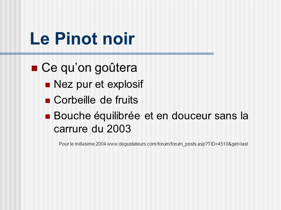 Le Pinot noir Ce quon goûtera Nez pur et explosif Corbeille de fruits Bouche équilibrée et en douceur sans la carrure du 2003 Pour le mill é sime 2004