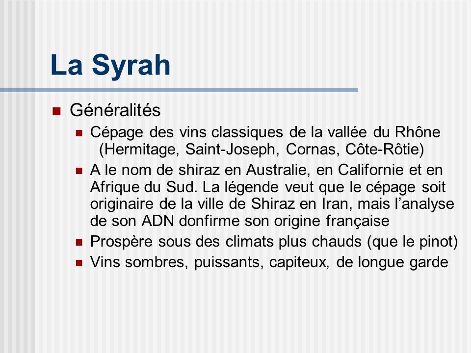 La Syrah Classiquement Framboise, mûre, cassis Poivre, cannelle, clou de girofle Cuir, gibier, goudron