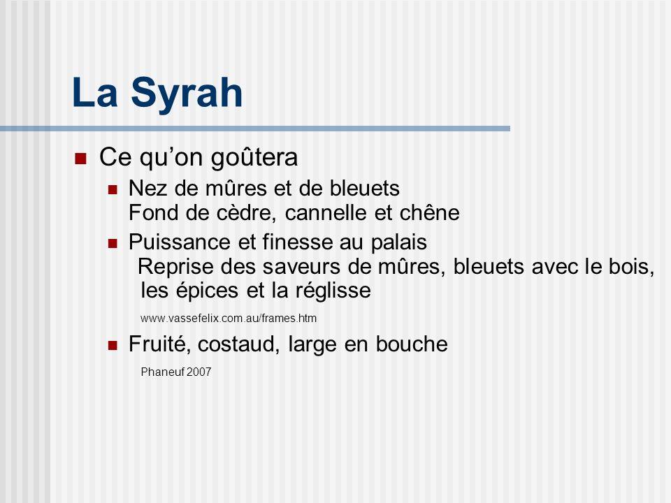 La Syrah Vasse Felix, Shiraz 2003 Région: Margaret River, Australie Cépages: 95% de shiraz (syrah) 5% de cabernet sauvignon