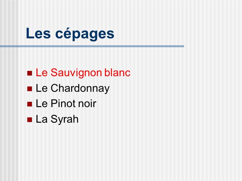 Le Sauvignon Blanc Généralités Une bonne alternative au Chardonnay Forte personnalité Sec, tonique, bonne acidité Régions de production reconnues Loire supérieure (Pouilly-Fumé, Sancerre) Nouvelle-Zélande Bordelais Californie
