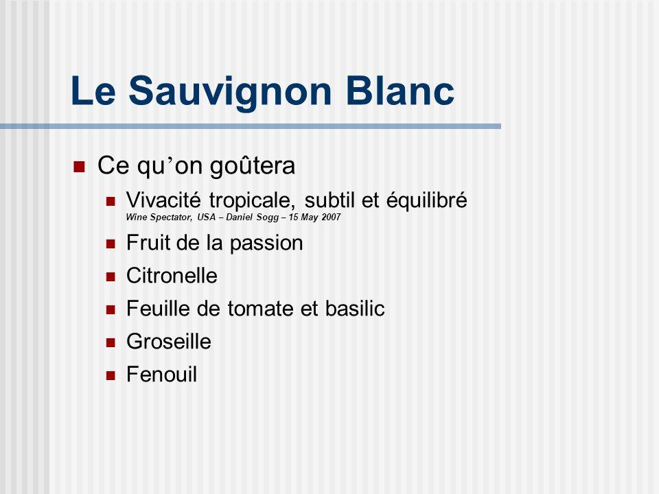Le Sauvignon Blanc Ce qu on goûtera Vivacité tropicale, subtil et équilibré Wine Spectator, USA – Daniel Sogg – 15 May 2007 Fruit de la passion Citron