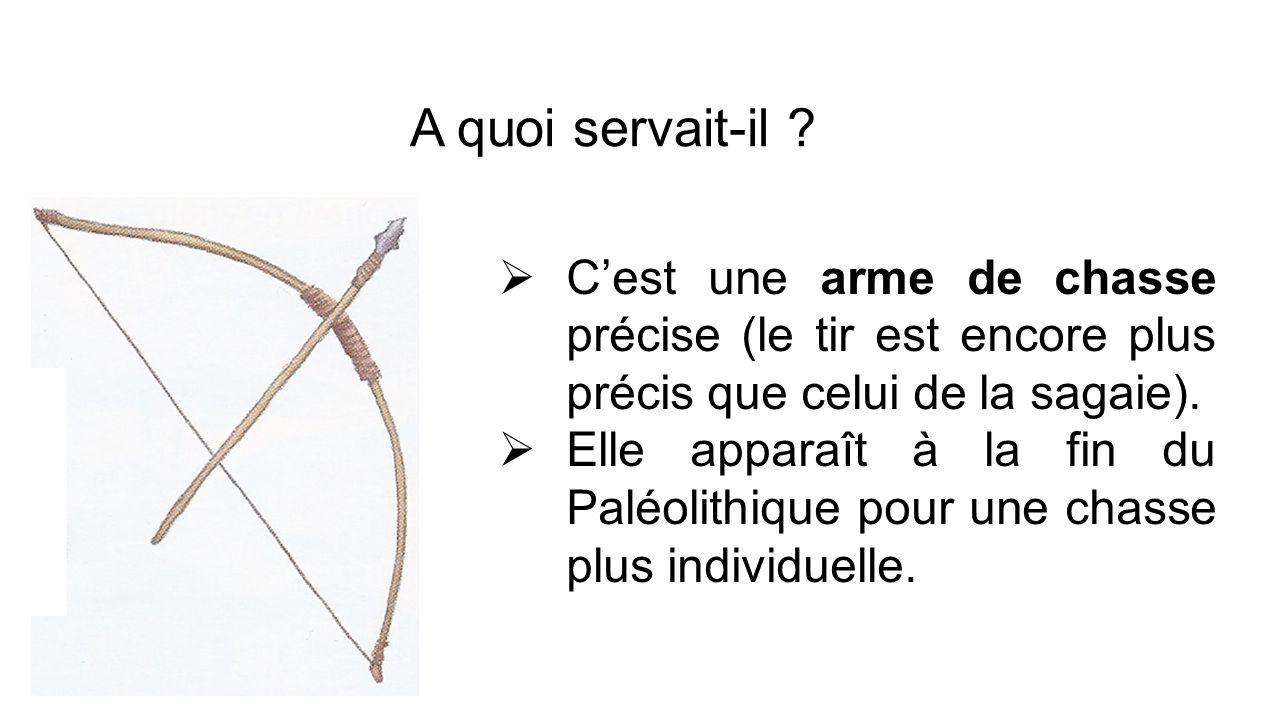 Cest une arme de chasse précise (le tir est encore plus précis que celui de la sagaie). Elle apparaît à la fin du Paléolithique pour une chasse plus i