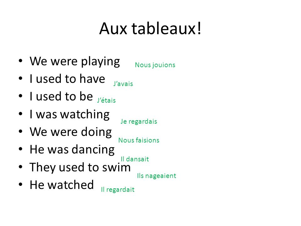Aux tableaux! We were playing I used to have I used to be I was watching We were doing He was dancing They used to swim He watched Nous jouions Javais