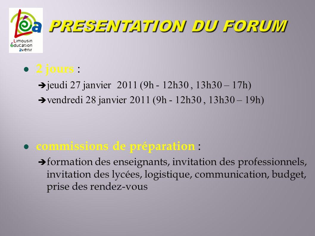 2 jours : jeudi 27 janvier 2011 (9h - 12h30, 13h30 – 17h) vendredi 28 janvier 2011 (9h - 12h30, 13h30 – 19h) commissions de préparation : formation de