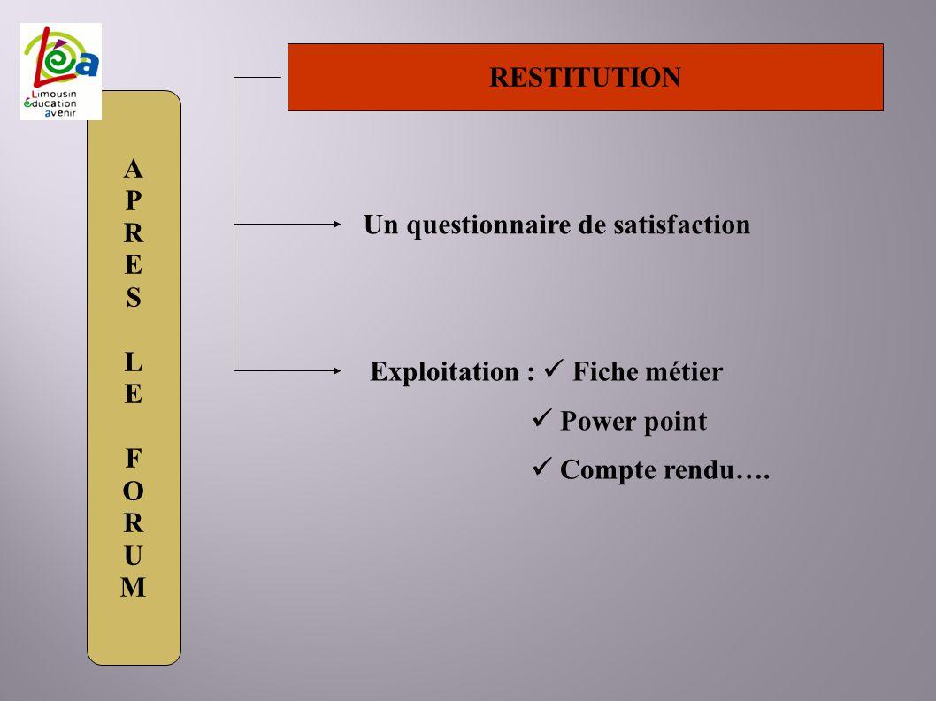 APRESLEFORUMAPRESLEFORUM RESTITUTION Un questionnaire de satisfaction Exploitation : Fiche métier Power point Compte rendu….