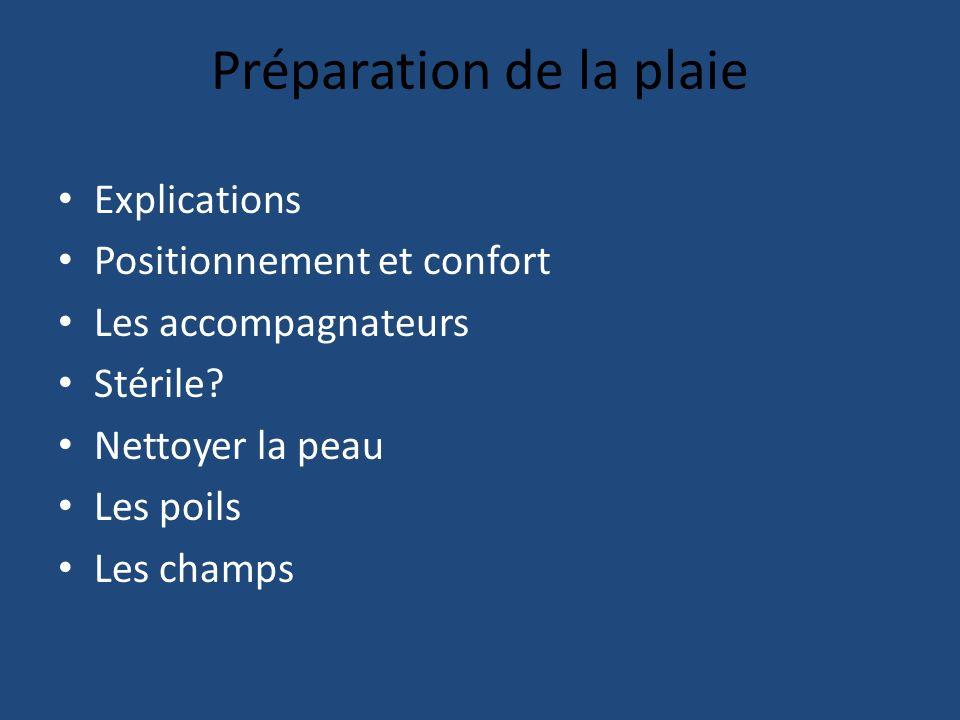 Préparation de la plaie Explications Positionnement et confort Les accompagnateurs Stérile.