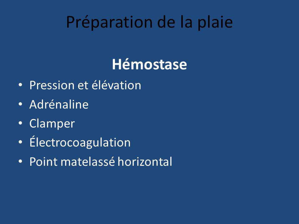 Préparation de la plaie Hémostase Pression et élévation Adrénaline Clamper Électrocoagulation Point matelassé horizontal
