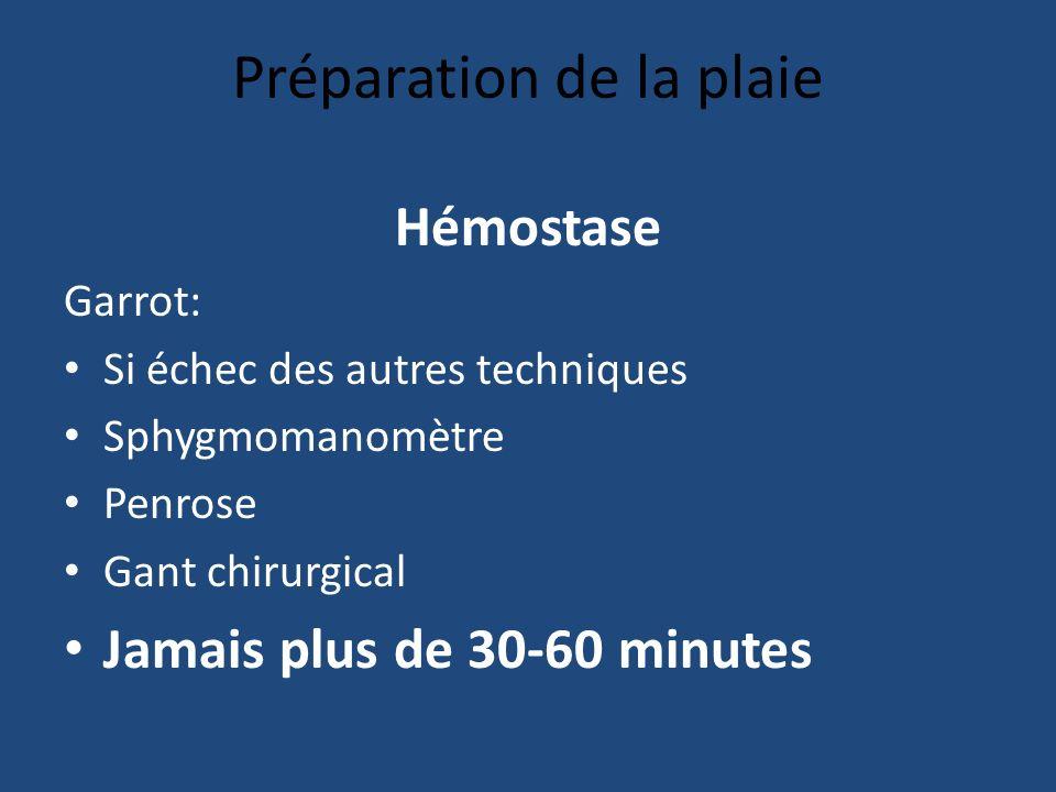 Préparation de la plaie Hémostase Garrot: Si échec des autres techniques Sphygmomanomètre Penrose Gant chirurgical Jamais plus de 30-60 minutes