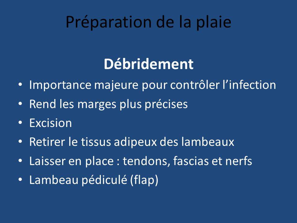 Préparation de la plaie Débridement Importance majeure pour contrôler linfection Rend les marges plus précises Excision Retirer le tissus adipeux des lambeaux Laisser en place : tendons, fascias et nerfs Lambeau pédiculé (flap)
