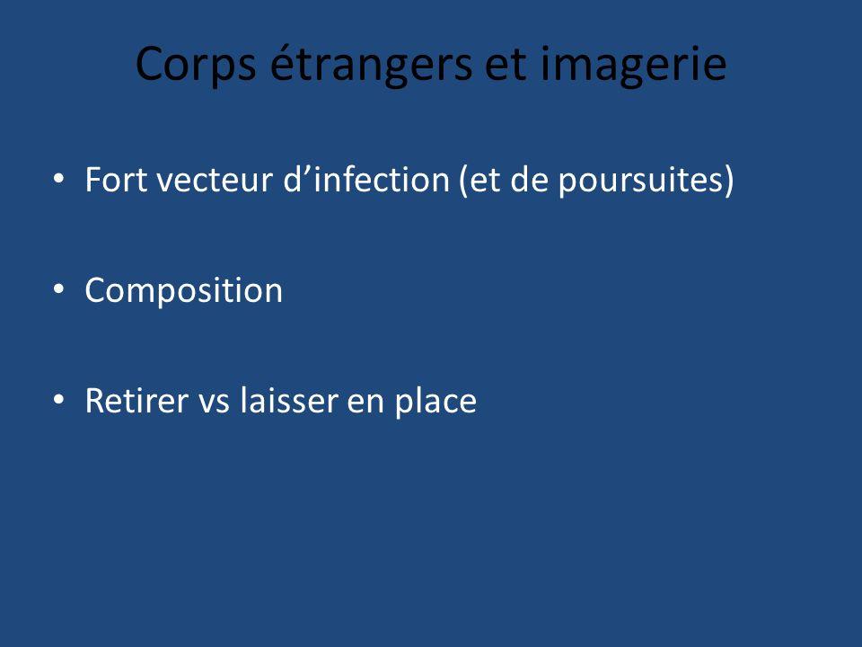 Corps étrangers et imagerie Fort vecteur dinfection (et de poursuites) Composition Retirer vs laisser en place