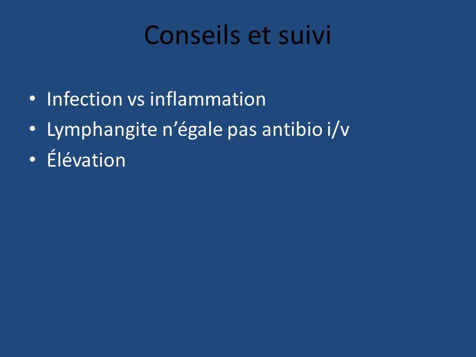 Conseils et suivi Infection vs inflammation Lymphangite négale pas antibio i/v Élévation