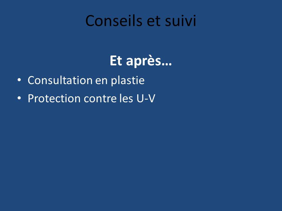 Conseils et suivi Et après… Consultation en plastie Protection contre les U-V