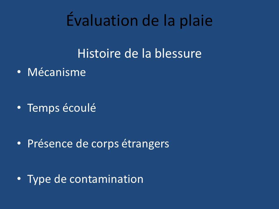 Évaluation de la plaie Histoire de la blessure Mécanisme Temps écoulé Présence de corps étrangers Type de contamination