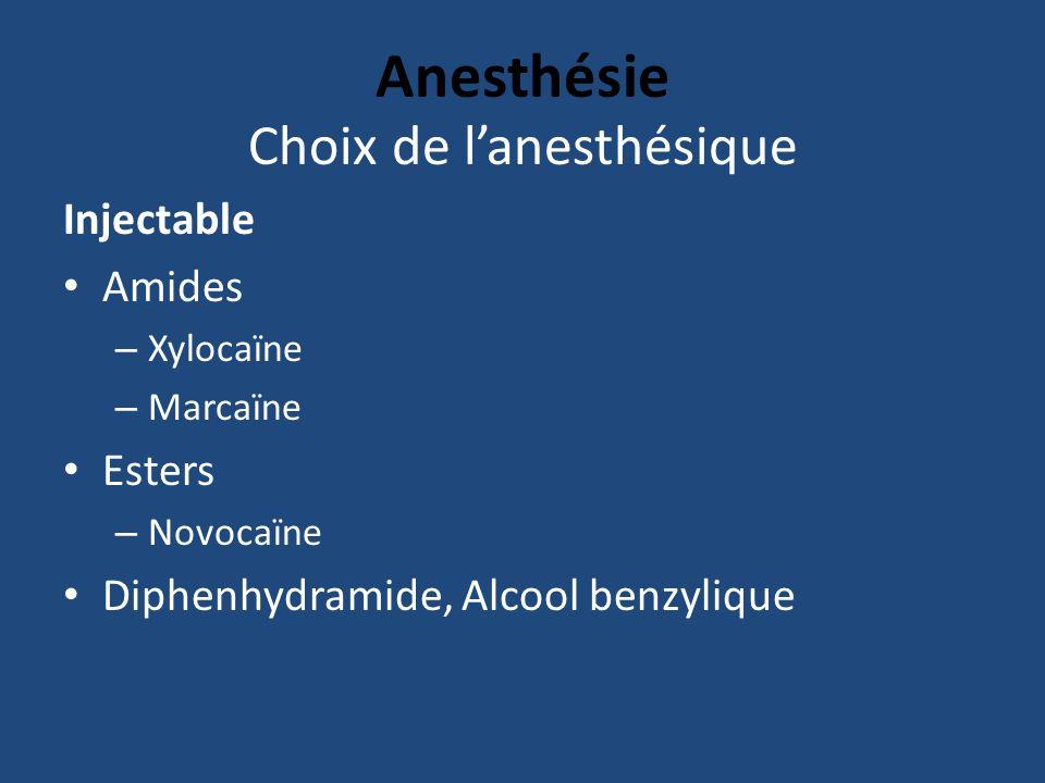 Anesthésie Choix de lanesthésique Injectable Amides – Xylocaïne – Marcaïne Esters – Novocaïne Diphenhydramide, Alcool benzylique
