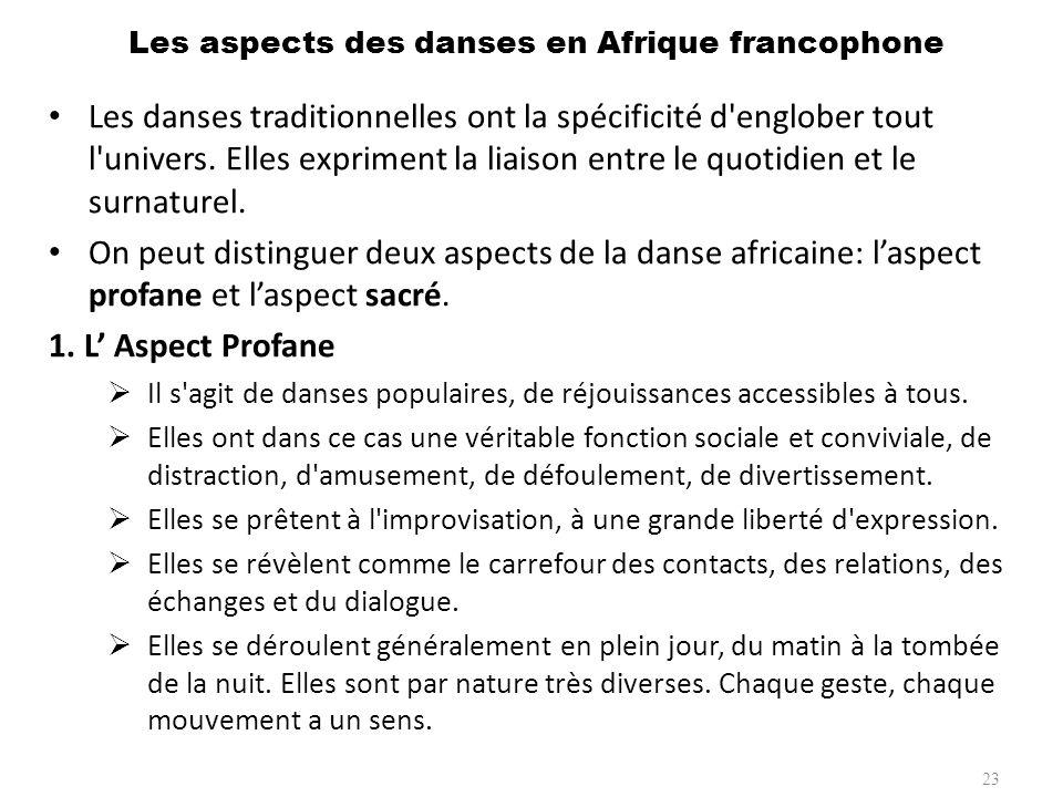 2.L Aspect Sacré Il s agit de danses rituelles accessibles aux seuls initiés.