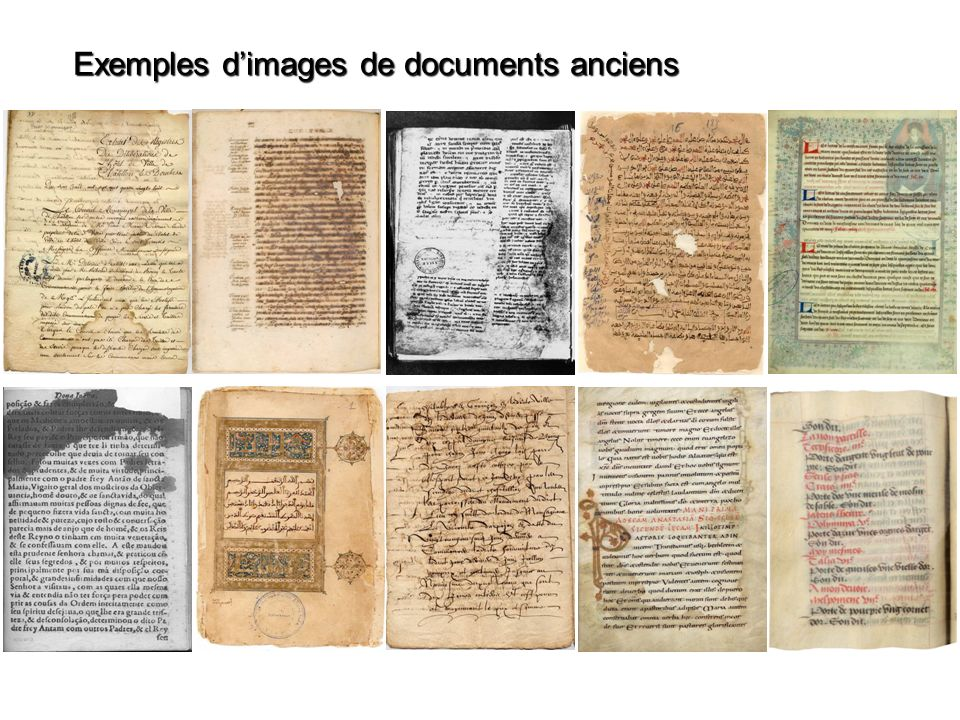 Exemples dimages de documents anciens