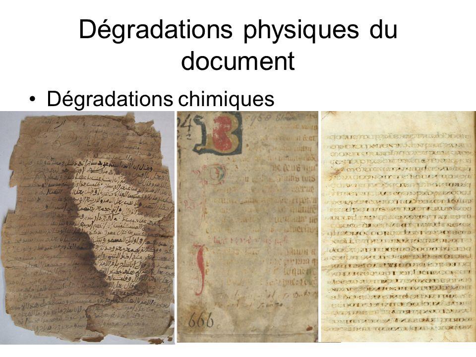Dégradations physiques du document Dégradations chimiques