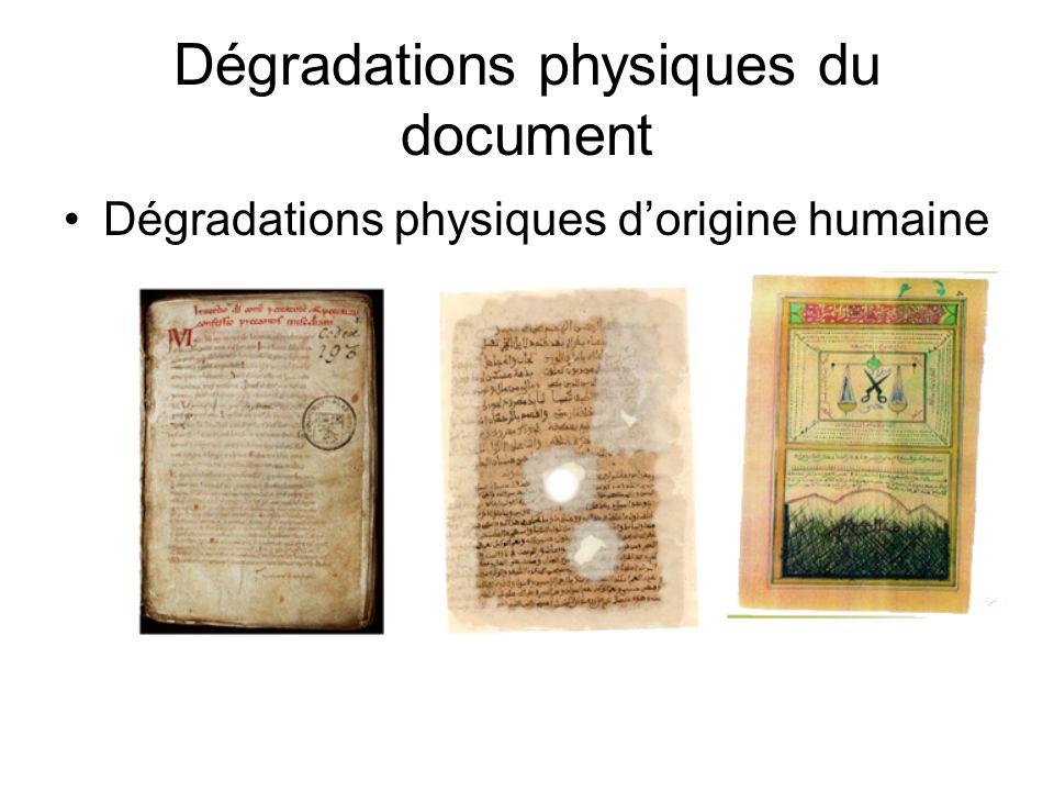Dégradations physiques du document Dégradations physiques dorigine humaine