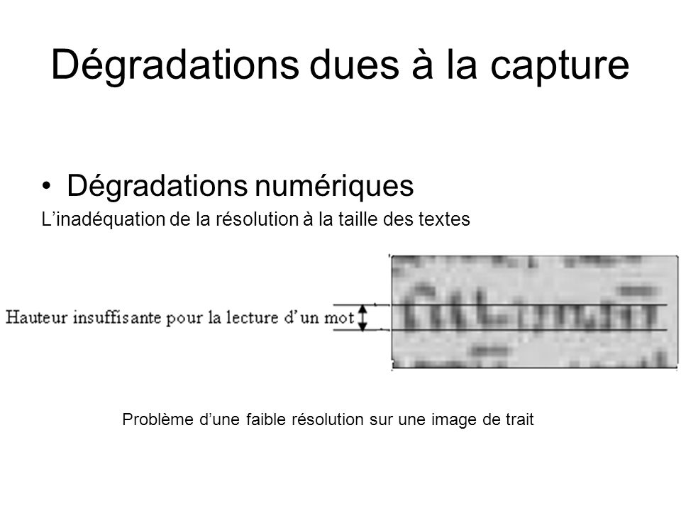 Dégradations dues à la capture Dégradations numériques Linadéquation de la résolution à la taille des textes Problème dune faible résolution sur une image de trait