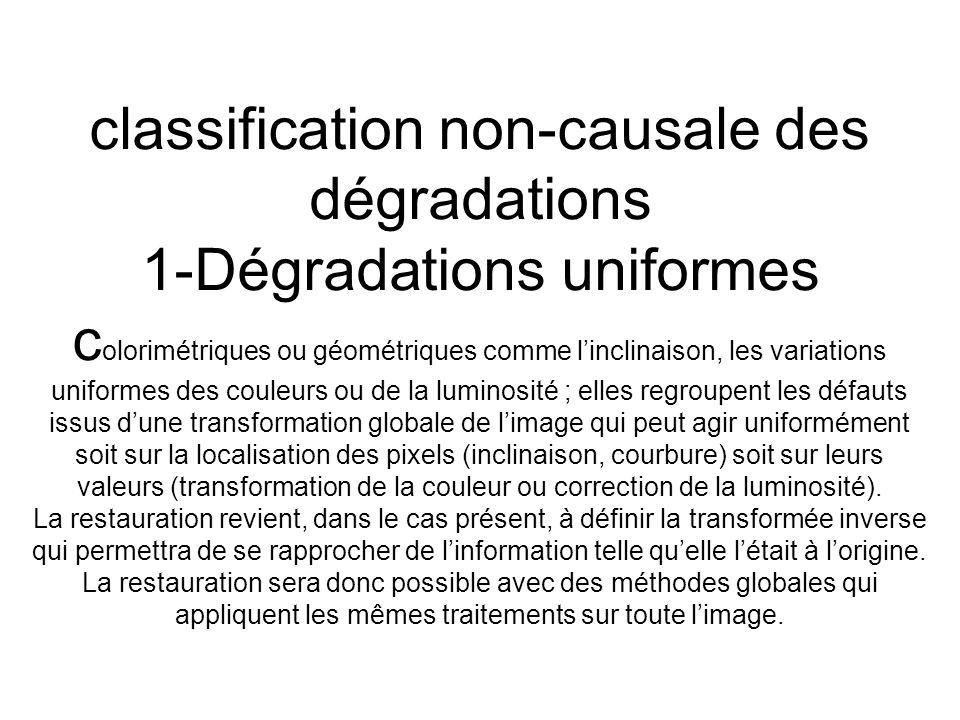 classification non-causale des dégradations 1-Dégradations uniformes c olorimétriques ou géométriques comme linclinaison, les variations uniformes des