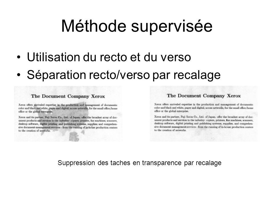 Méthode supervisée Utilisation du recto et du verso Séparation recto/verso par recalage Suppression des taches en transparence par recalage