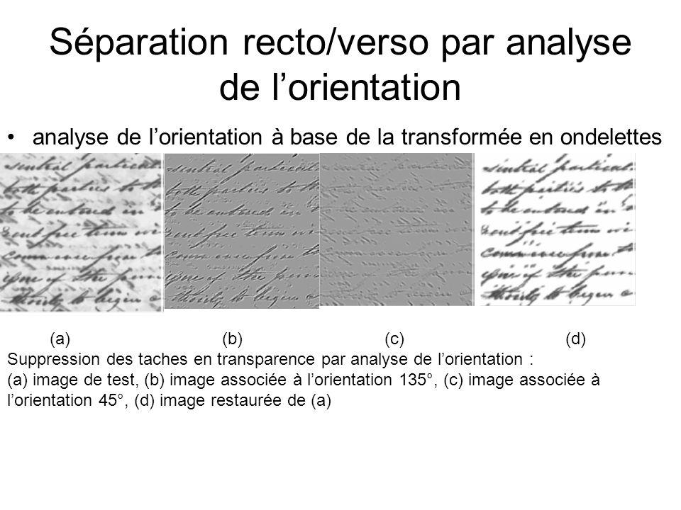 Séparation recto/verso par analyse de lorientation analyse de lorientation à base de la transformée en ondelettes (a) (b) (c) (d) Suppression des taches en transparence par analyse de lorientation : (a) image de test, (b) image associée à lorientation 135°, (c) image associée à lorientation 45°, (d) image restaurée de (a)