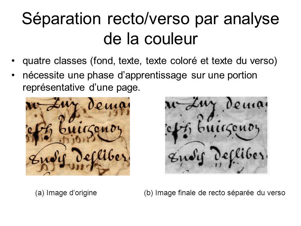 Séparation recto/verso par analyse de la couleur quatre classes (fond, texte, texte coloré et texte du verso) nécessite une phase dapprentissage sur u