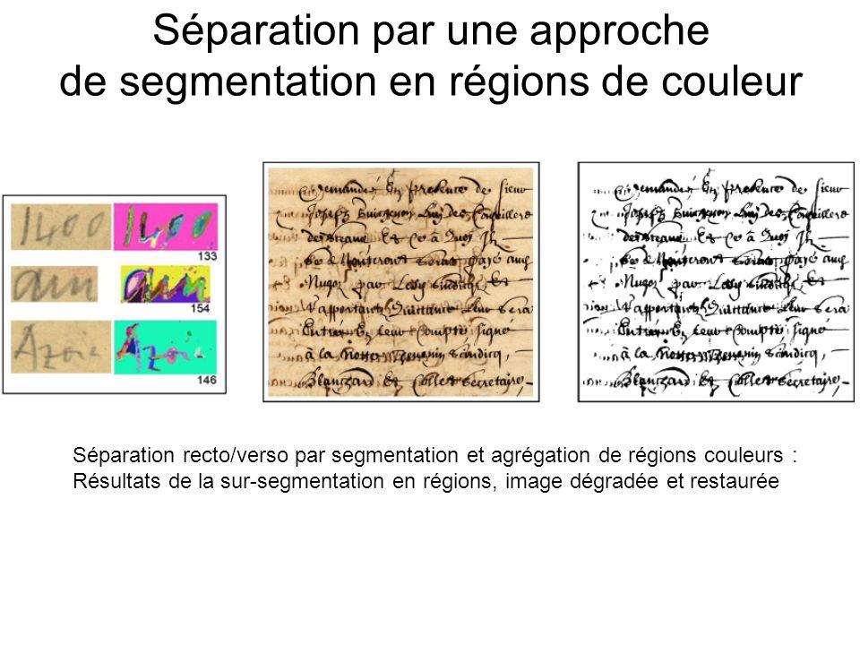 Séparation par une approche de segmentation en régions de couleur Séparation recto/verso par segmentation et agrégation de régions couleurs : Résultats de la sur-segmentation en régions, image dégradée et restaurée