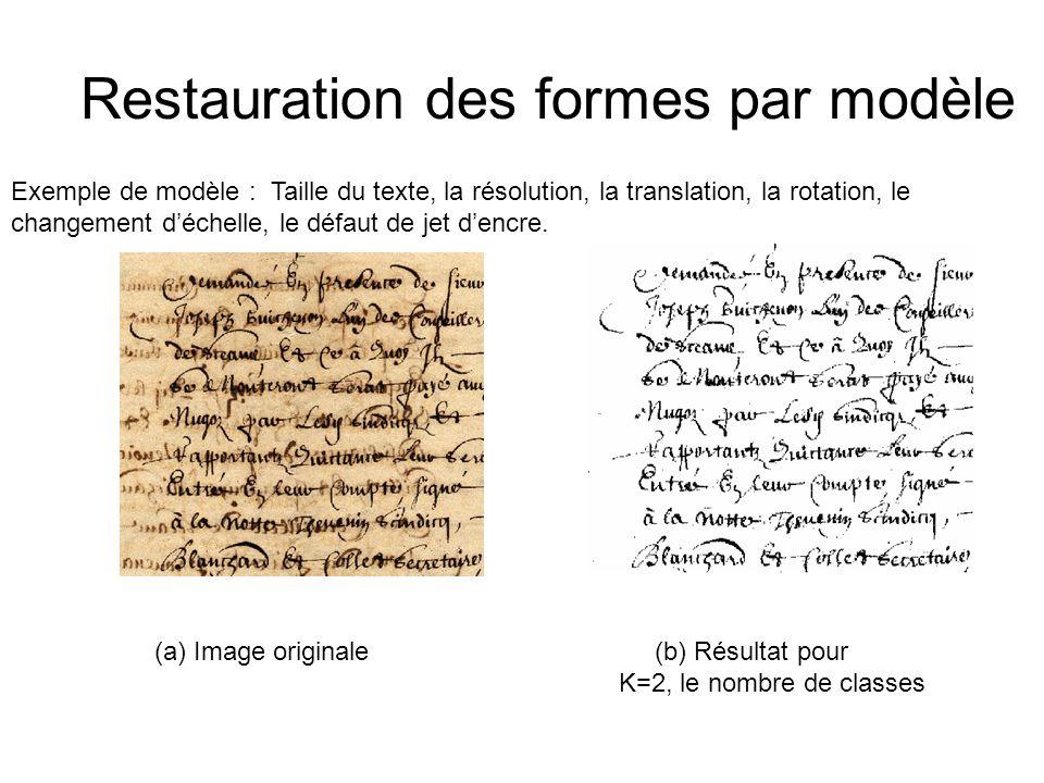 Restauration des formes par modèle (a) Image originale (b) Résultat pour K=2, le nombre de classes Exemple de modèle : Taille du texte, la résolution, la translation, la rotation, le changement déchelle, le défaut de jet dencre.