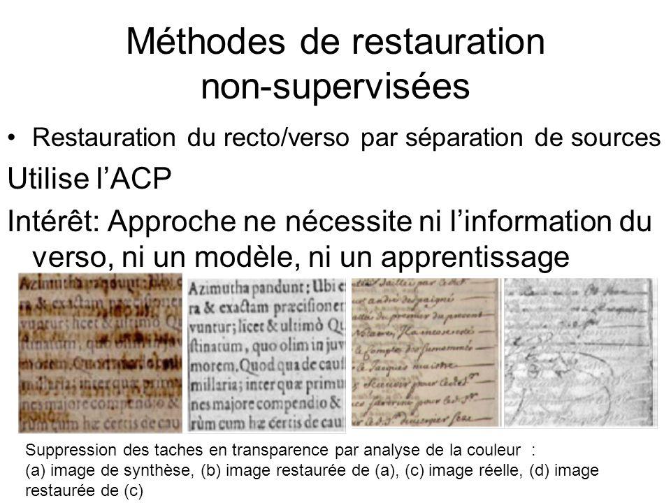 Méthodes de restauration non-supervisées Restauration du recto/verso par séparation de sources Utilise lACP Intérêt: Approche ne nécessite ni linforma