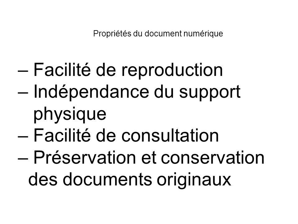 Propriétés du document numérique – Facilité de reproduction – Indépendance du support physique – Facilité de consultation – Préservation et conservati