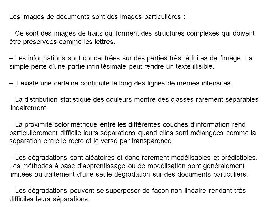 Séparation recto/verso par analyse de la couleur quatre classes (fond, texte, texte coloré et texte du verso) nécessite une phase dapprentissage sur une portion représentative dune page.
