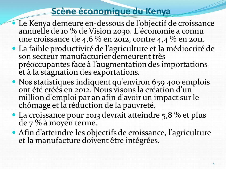 Scène économique du Kenya Le Kenya demeure en-dessous de lobjectif de croissance annuelle de 10 % de Vision 2030. L'économie a connu une croissance de
