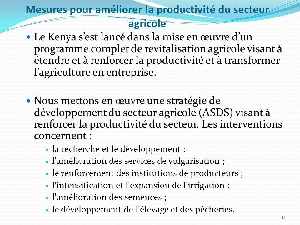 Mesures pour améliorer la productivité du secteur agricole Le Kenya sest lancé dans la mise en œuvre dun programme complet de revitalisation agricole