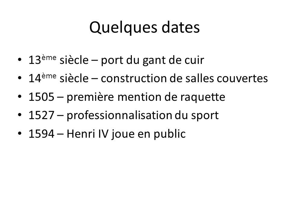 Quelques dates 13 ème siècle – port du gant de cuir 14 ème siècle – construction de salles couvertes 1505 – première mention de raquette 1527 – profes