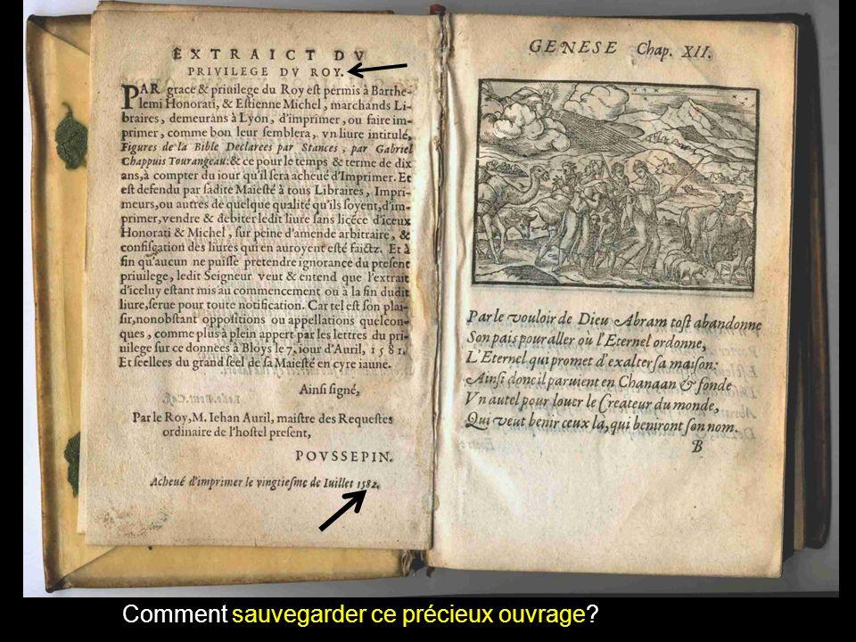 Comment sauvegarder ce précieux ouvrage?