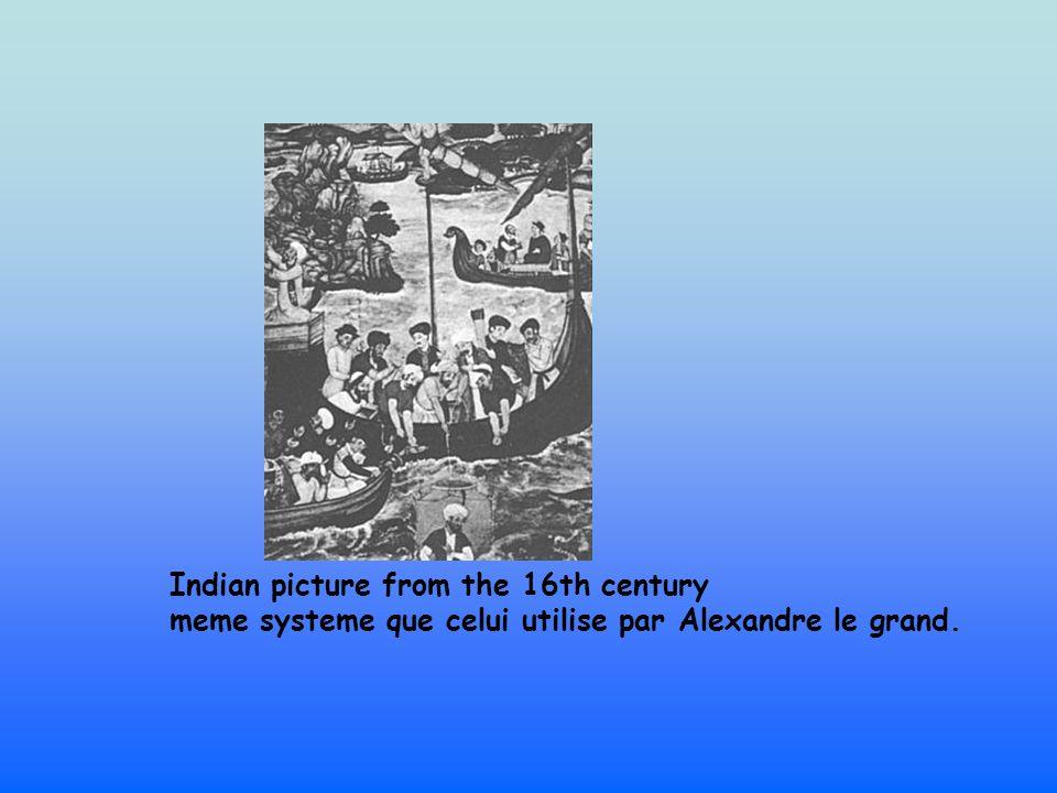 Indian picture from the 16th century meme systeme que celui utilise par Alexandre le grand.